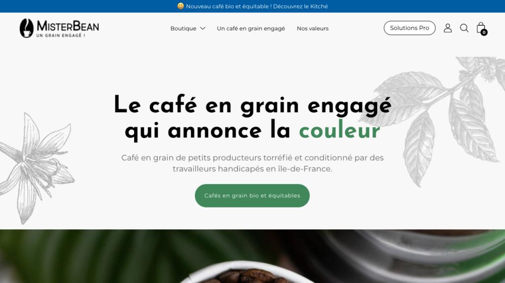 E-shop MisterBean café en grain eco-responsable
